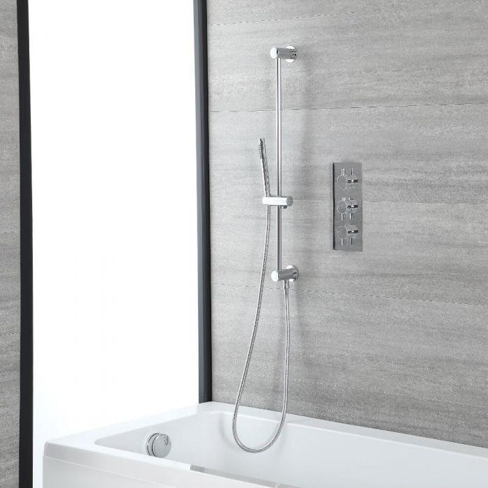 Duschsystem für Badewanne mit rundem Thermostat, Überlauf-Wanneneinlauf und Brausestangenset, Chrom - Como
