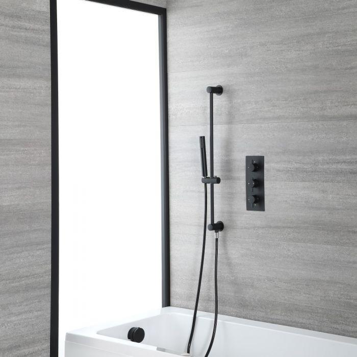 Dusch- und Badesystem mit Thermostat - mit Überlauf-Wanneneinlauf und Brausestangenset - Schwarz - Nox