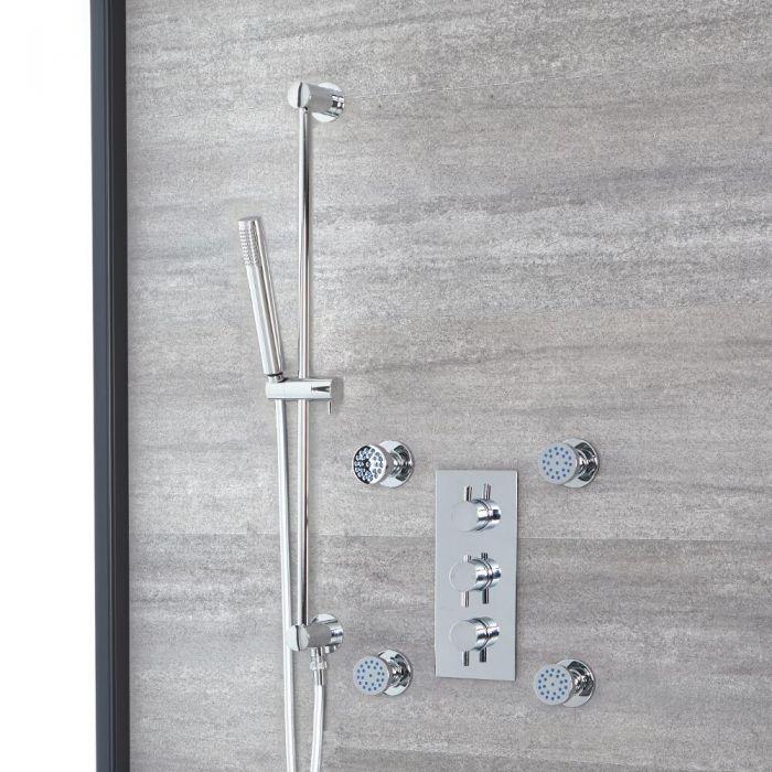 Rundes Dusch-Thermostat mit Handbrause und Massagedüsen, Chrom - Como