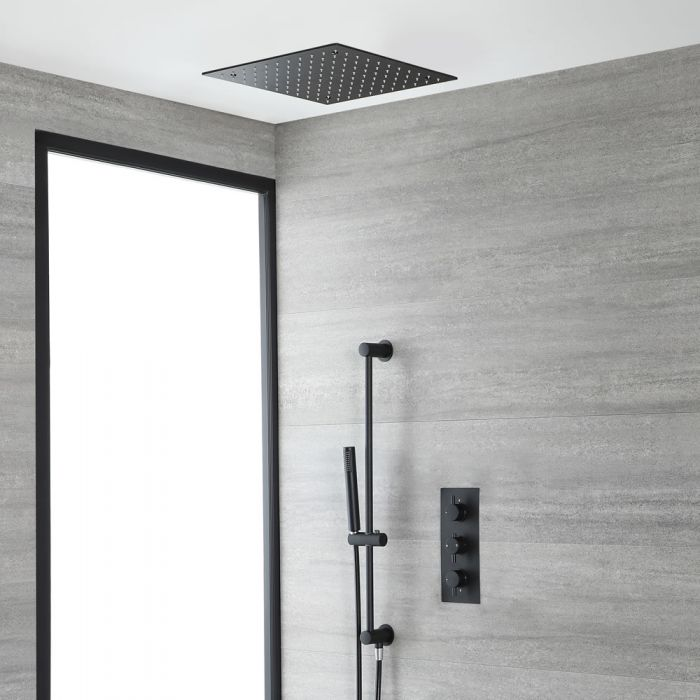 Thermostatische 2-Wege Dusche inkl. Unterputz-Duschkopf und Brausestangenset Schwarz - Nox