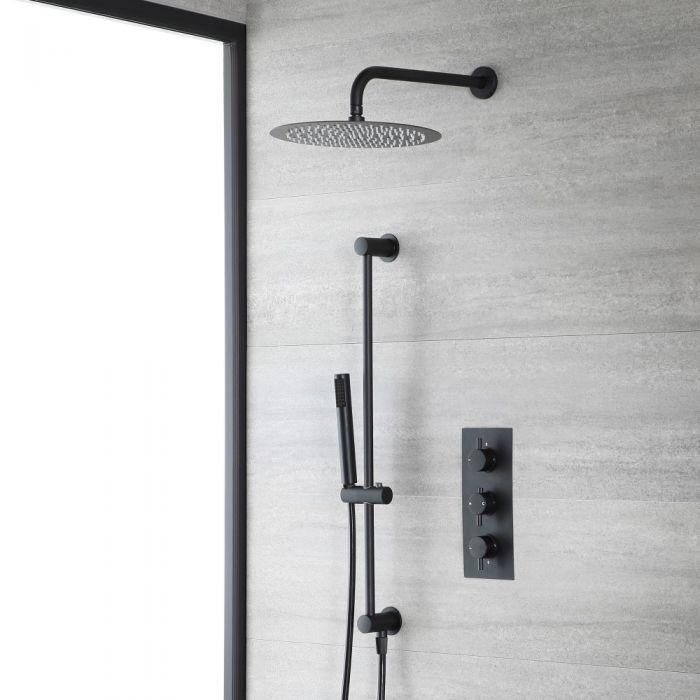 Unterputz-Duschsystem mit Thermostat - mit rundem 300mm Wand-Duschkopf und Brausestangenset - Schwarz - Nox