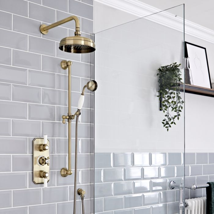 Retro Unterputz Duschsystem mit Thermostat, Wand-Duschkopf und Brausesgarnitur, antikes Gold - Elizabeth