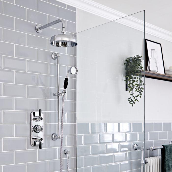 Retro Unterputz Duschsystem mit Thermostat, Wand-Duschkopf und Brausesgarnitur, Chrom/Schwarz - Elizabeth