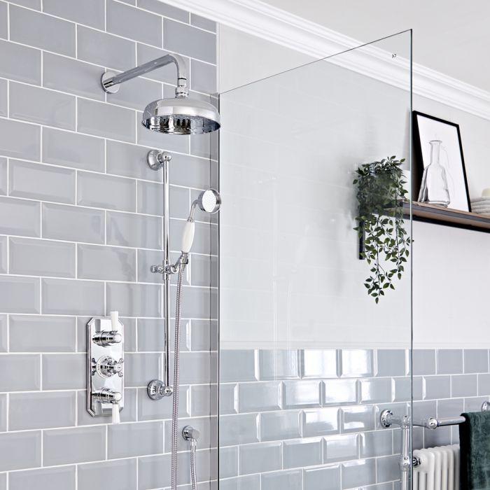 Retro Unterputz Duschsystem mit Thermostat, Wand-Duschkopf und Brausesgarnitur, Chrom/Weiß - Elizabeth