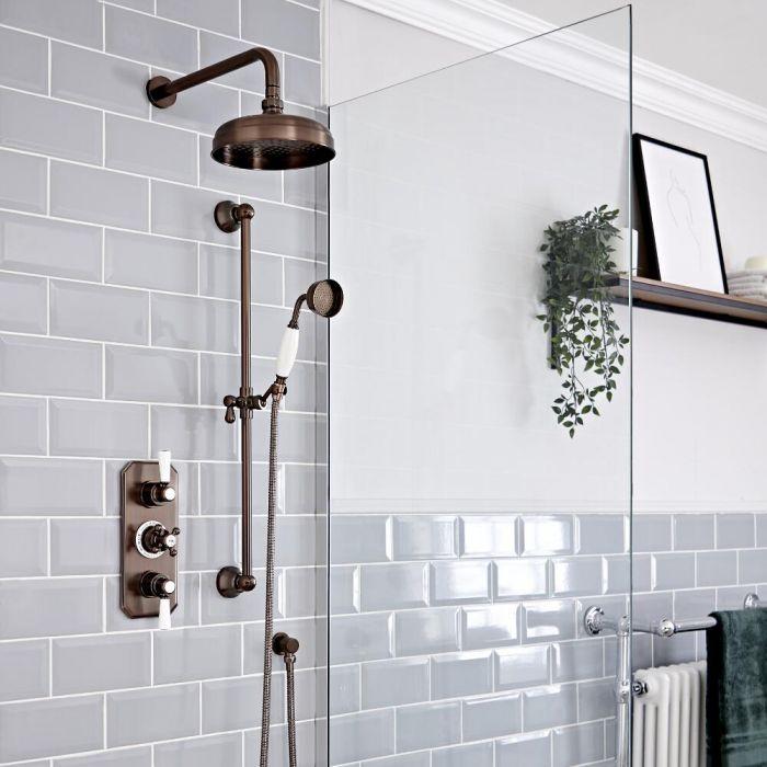 Retro Unterputz Duschsystem mit Thermostat, Wand-Duschkopf und Brausesgarnitur, geölte Bronze - Elizabeth