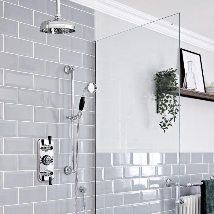 Retro Unterputz Duschsystem mit Thermostat, Decken-Duschkopf und Brausegarnitur, Chrom/Schwarz - Elizabeth