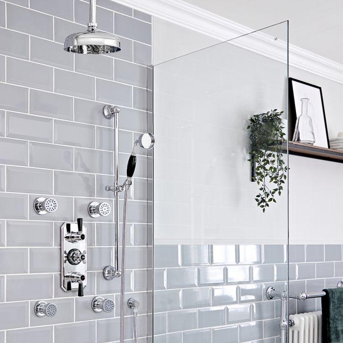 Retro UP Duschthermostat mit Decken-Duschkopf, Massagedüsen und Brausegarnitur, Chrom/Schwarz - Elizabeth