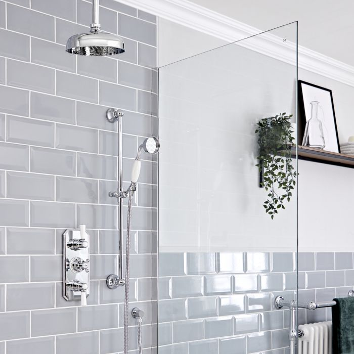 Retro Unterputz Duschsystem mit Thermostat, Decken-Duschkopf und Brausegarnitur, Chrom/Weiß - Elizabeth