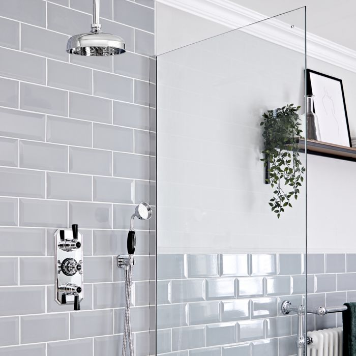 Retro Unterputz Duschsystem mit Thermostat, Decken-Duschkopf und Handbrause, Chrom/Schwarz - Elizabeth