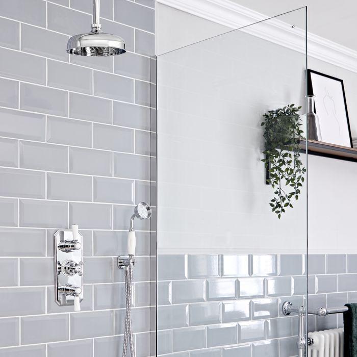 Retro Unterputz Duschsystem mit Thermostat, Decken-Duschkopf und Handbrause, Chrom/Weiß - Elizabeth