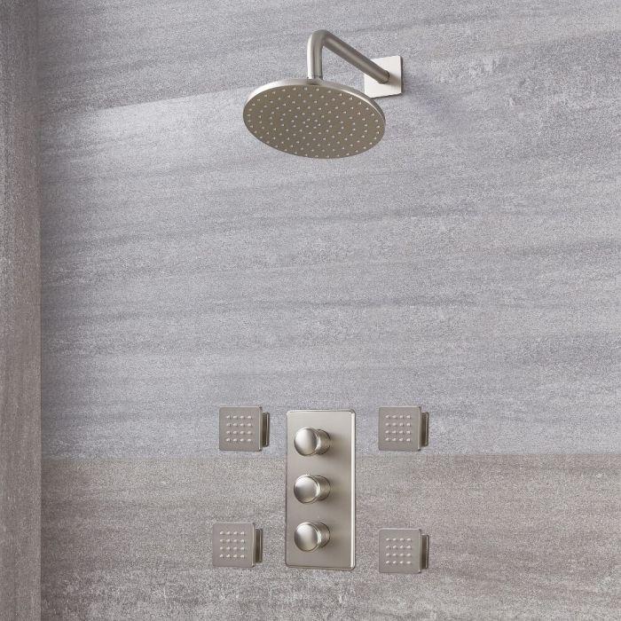 Aldwick Thermostatarmatur mit 200mm rundem Kopf und Körperdüsen - Gebürstetes Nickel