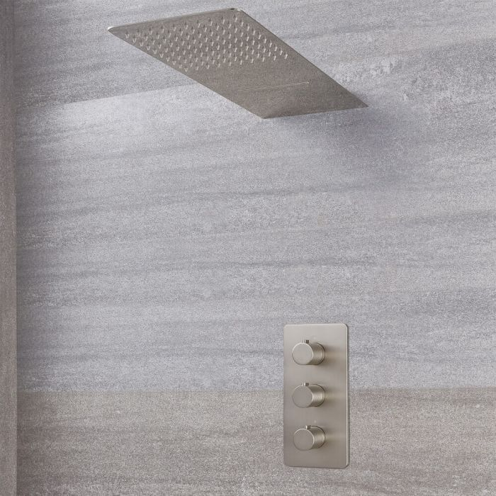 Harting Thermostatarmatur Wasserfall-Regen-Duschkopf - Gebürstetes Nickel
