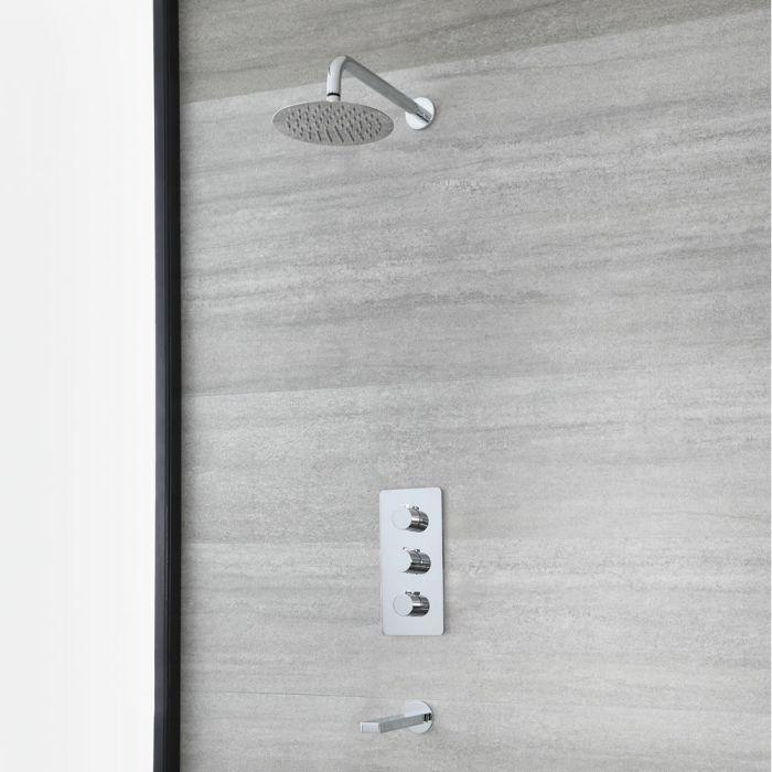 Unterputz-Dusch- und Badesystem mit Thermostat - mit 200mm rundem Duschkopf und Wanneneinlauf – Chrom - Arcadia