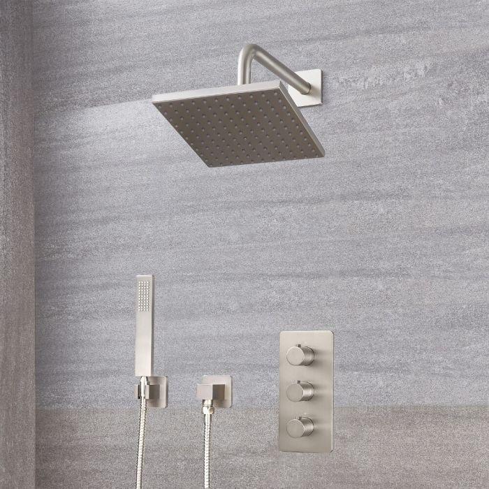 Harting Thermostatarmatur, 200mm x 200mm quadratischer Kopf und Handbrause - Gebürstetes Nickel