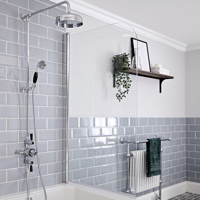 Duschsäule mit Aufputz-Thermostat - inkl. 194mm rundem Duschkopf und Handbrauseset - Chrom/Schwarz - Elizabeth