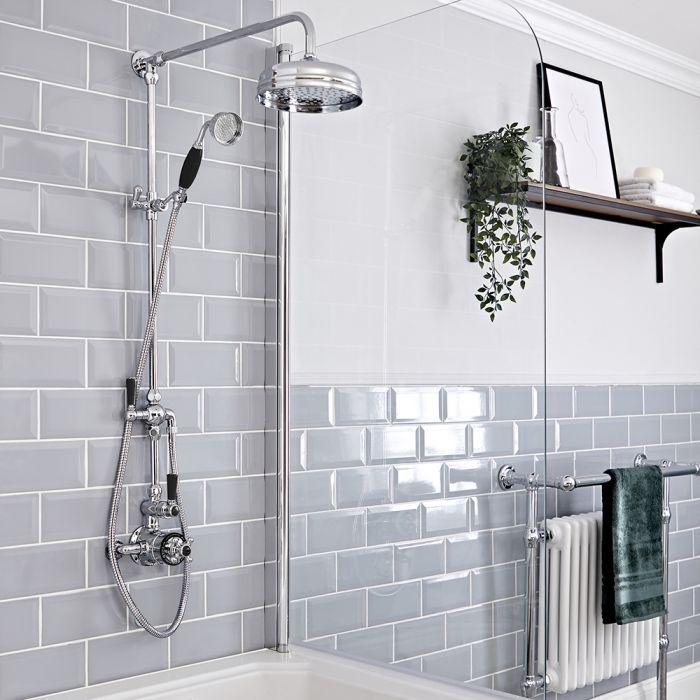 Retro Duschsäule mit Aufputz-Thermostat, Chrom/Schwarz - Elizabeth