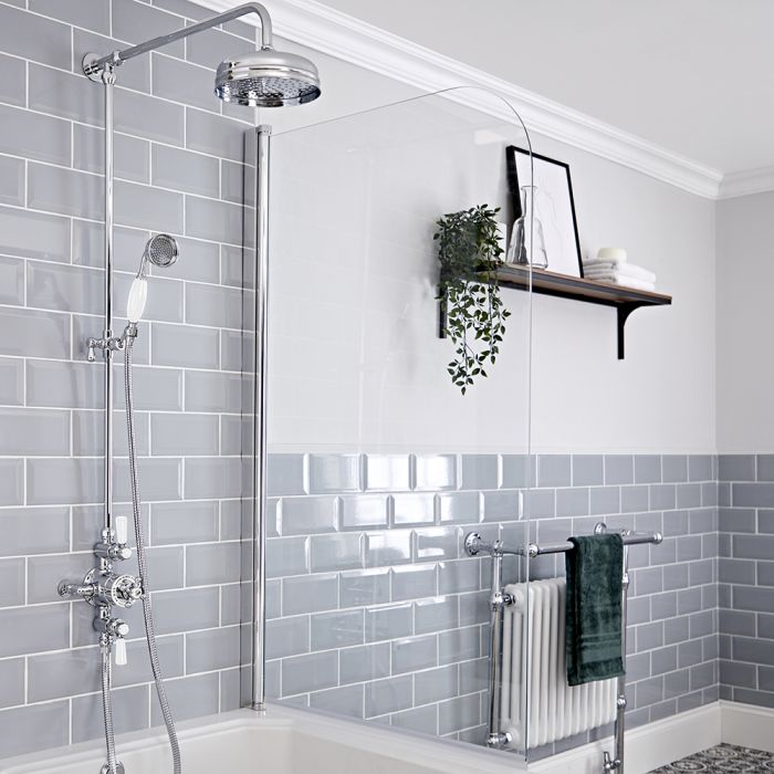 Retro Aufputz Thermostatarmatur und Duschsäule mit Handbrause und Duschkopf, Chrom/Weiß - Elizabeth