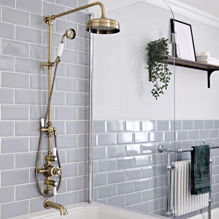 Retro Duschsäule mit Aufputz-Thermostat und wandmontiertem Wanneneinlauf, Antikes Gold - Elizabeth