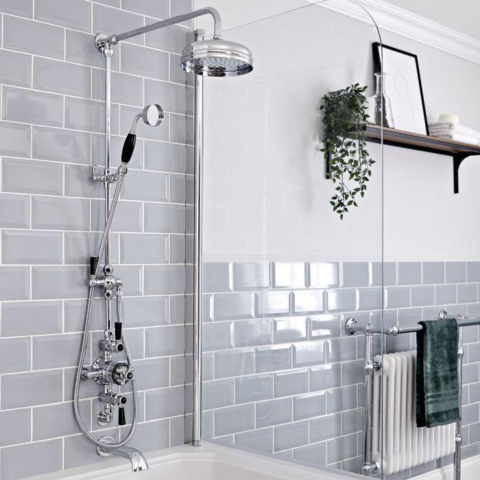 Retro Duschsäule mit Aufputz-Thermostat und wandmontiertem Wanneneinlauf, Chrom/Schwarz - Elizabeth