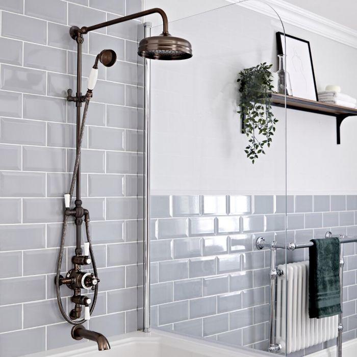 Retro Duschsäule mit Aufputz-Thermostat und wandmontiertem Wanneneinlauf,geölte Bronze - Elizabeth