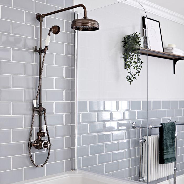 Aufputz-Duschsäule mit Thermostat – mit 194mm rundem Duschkopf und Handbrauseset - geölte Bronze - Elizabeth