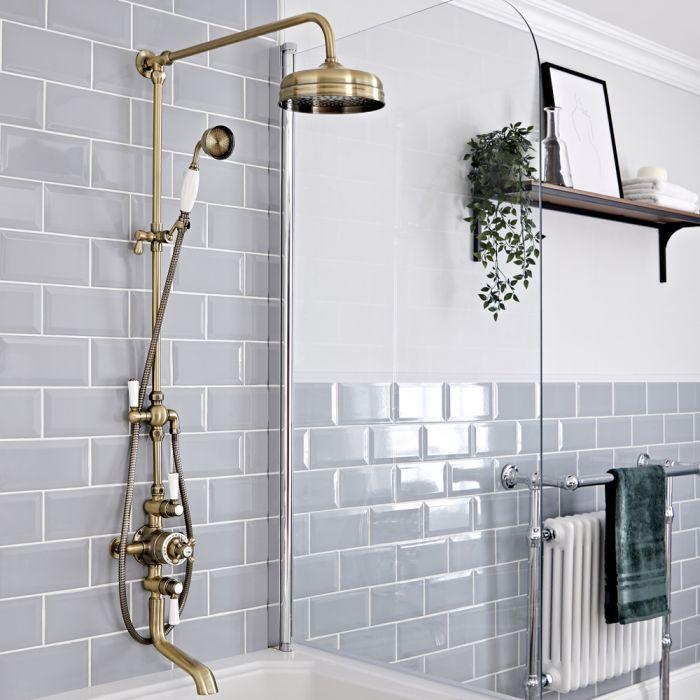 Retro Duschsäule mit 2-Auslass-Thermostat, mit Wanneneinlauf, antikes Gold - Elizabeth