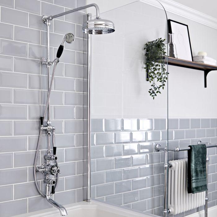 Retro Duschsäule mit Thermostatarmatur und Wanneneinlauf, Chrom/Schwarz - Elizabeth