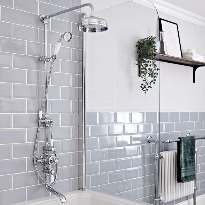 Retro Duschsäule mit Thermostatarmatur und Wanneneinlauf, Chrom/Weiß - Elizabeth
