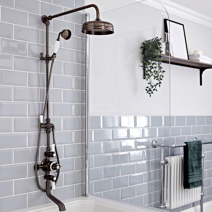 Retro Duschsäule mit 2-Auslass-Thermostat und Wanneneinlauf, geölte Bronze - Elizabeth