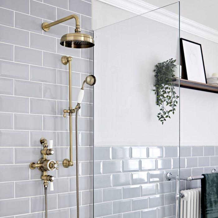 Retro Duschsystem mit Aufputz-Thermostat, Wand-Duschkopf und Brausegarnitur, antikes Gold - Elizabeth