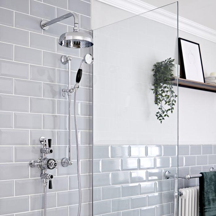 Retro Duschsystem mit Aufputz-Thermostat, Wand-Duschkopf und Brausegarnitur, Chrom/Schwarz - Elizabeth