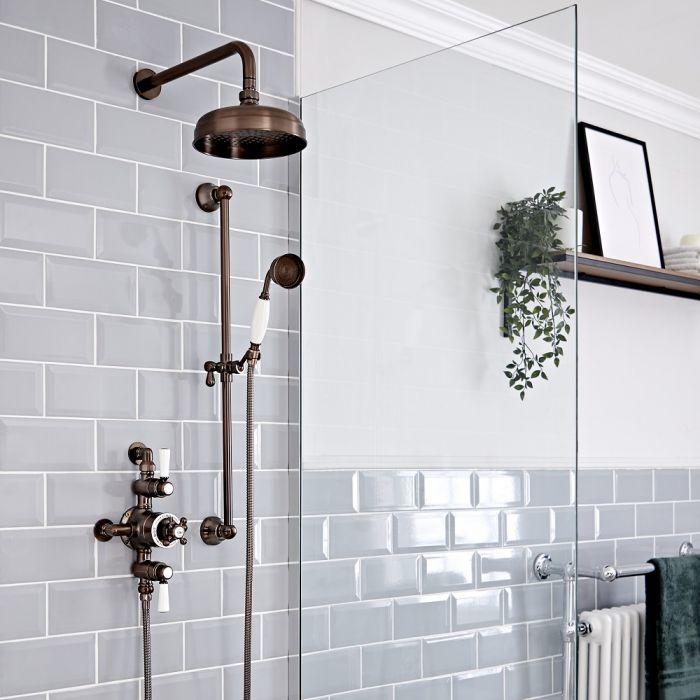 Retro Aufputz-Duschsystem mit Thermostat - Wand-Duschkopf und Brausestangenset - geölte Bronze – Elizabeth