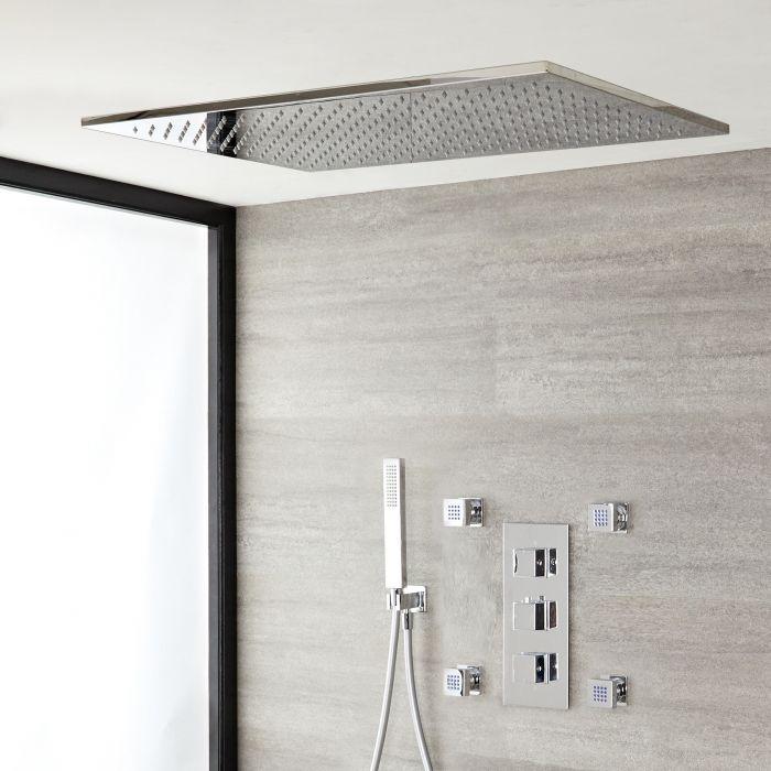 Unterputz-Duschsystem mit Thermostat und Umsteller – mit 800mm x 500mm Duschkopf (Deckenmontage), Handbrauseset und Körperdüsen - Chrom – Kubix