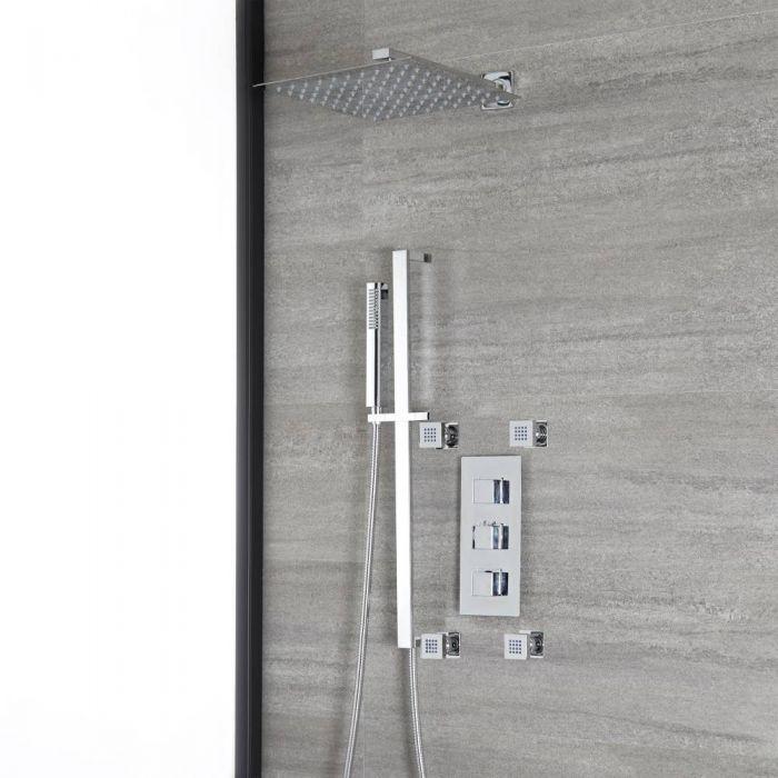 Eckiges Dusch-Thermostat mit Umsteller, 300mm Duschkopf, Brausestangenset und Massagedüsen, Chrom - Kubix