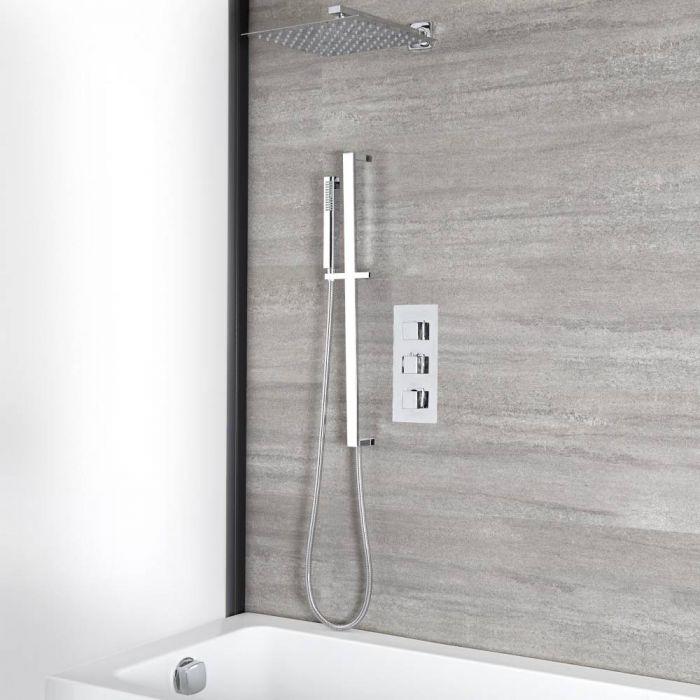 Duschbadewannen-System 300mm Duschkopf, Brausestangenset und Überlauf-Wanneneinlauf, Chrom - Kubix