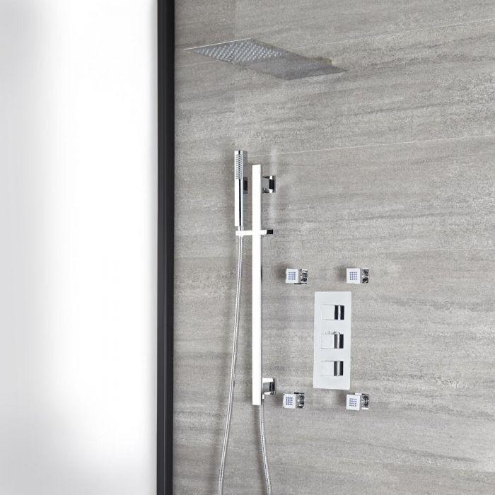 Eckiges Dusch-Thermostat mit Umsteller, flachem Wand-Duschkopf, Brausestangenset und Massagedüsen, Chrom - Kubix