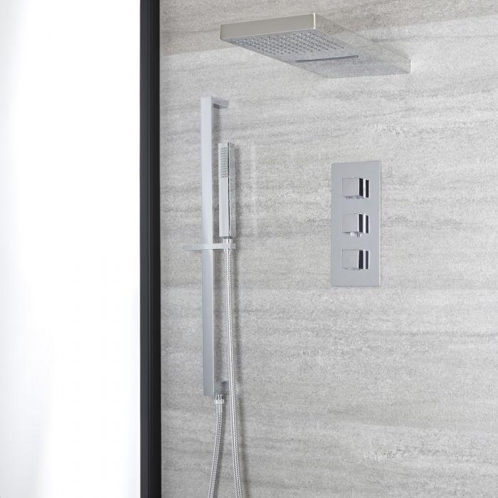 Eckiges Dusch-Thermostat mit Umsteller, Wasserfall-Duschkopf und Brausestangenset, Chrom - Kubix