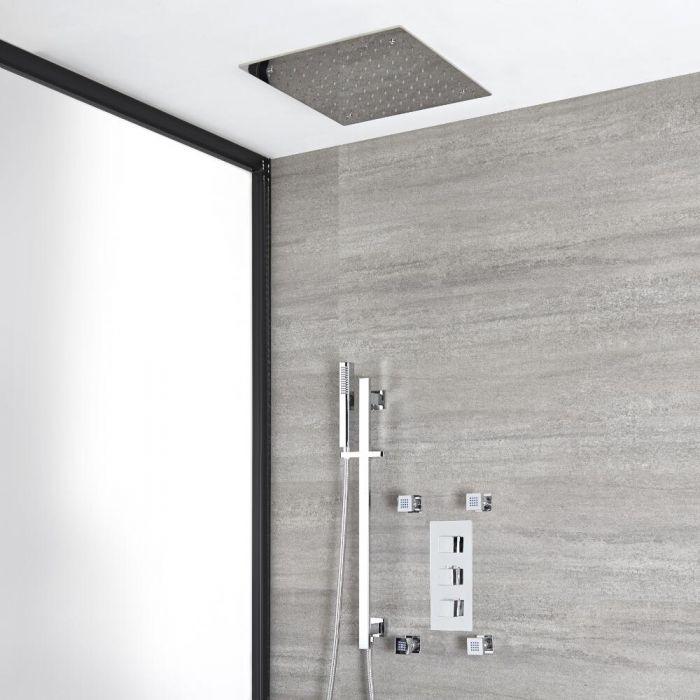 Eckiges Dusch-Thermostat mit Umsteller, 400x400mm Decken-Duschkopf, Brausestangenset und Massagedüsen, Chrom - Kubix