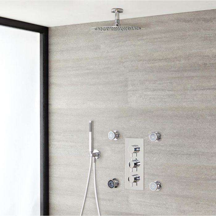 Duschsystem mit Thermostat und Umsteller – mit 300mm rundem Duschkopf, Handbrauseset und Körperdüsen - Chrom – Como