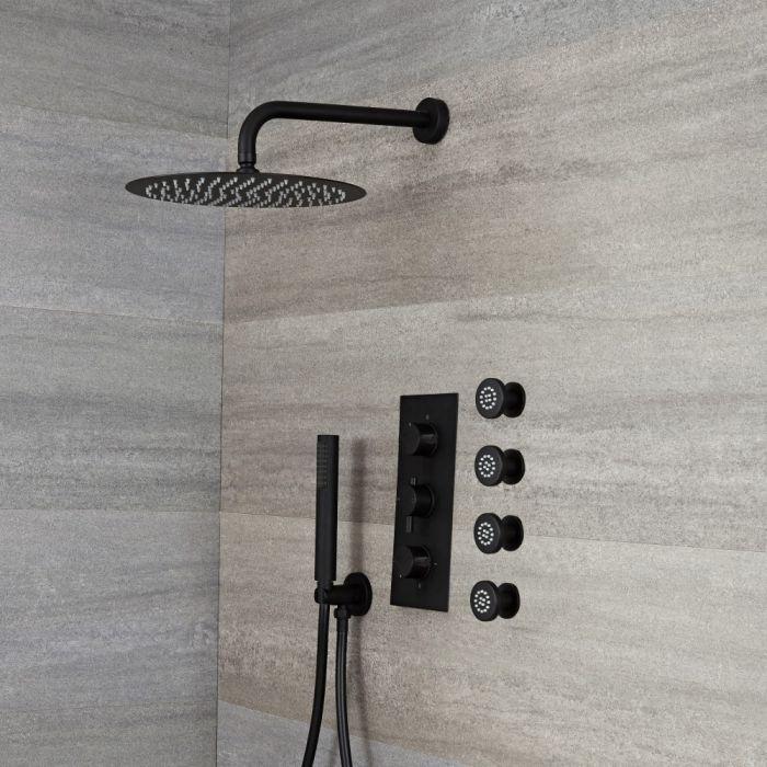 Unterputz Duschsystem mit Thermostat - mit 300mm rundem Wand-Duschkopf, Handbrauseset und Körperdüsen - Schwarz - Nox