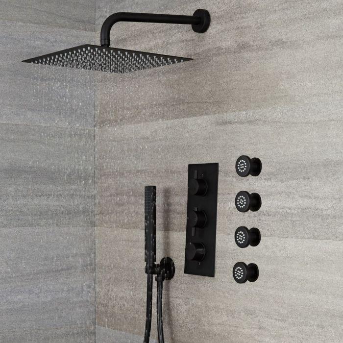 Unterputz Duschsystem mit Thermostat - mit 300x300mm Wand-Duschkopf, Handbrauseset und Körperdüsen - Schwarz - Nox