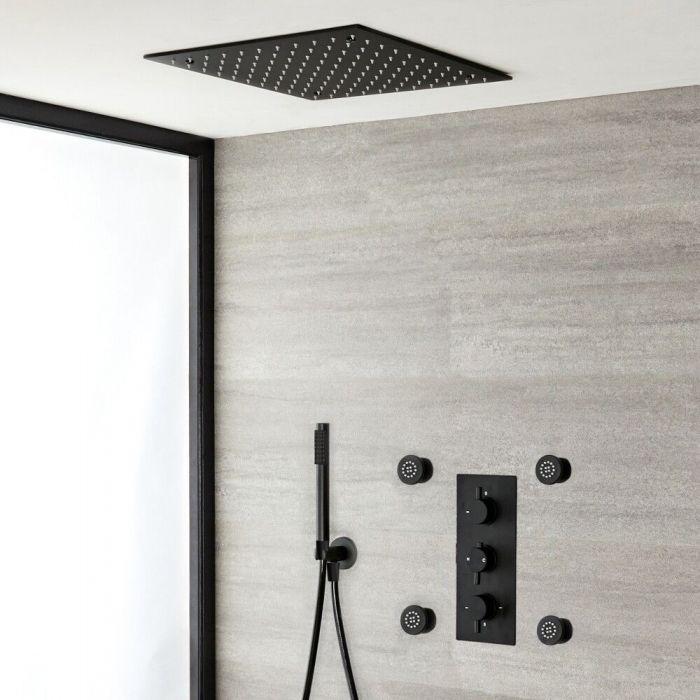Unterputz Duschsystem mit Thermostat - mit 400x400mm Unterputz Duschkopf, Handbrauseset und Körperdüsen - Schwarz