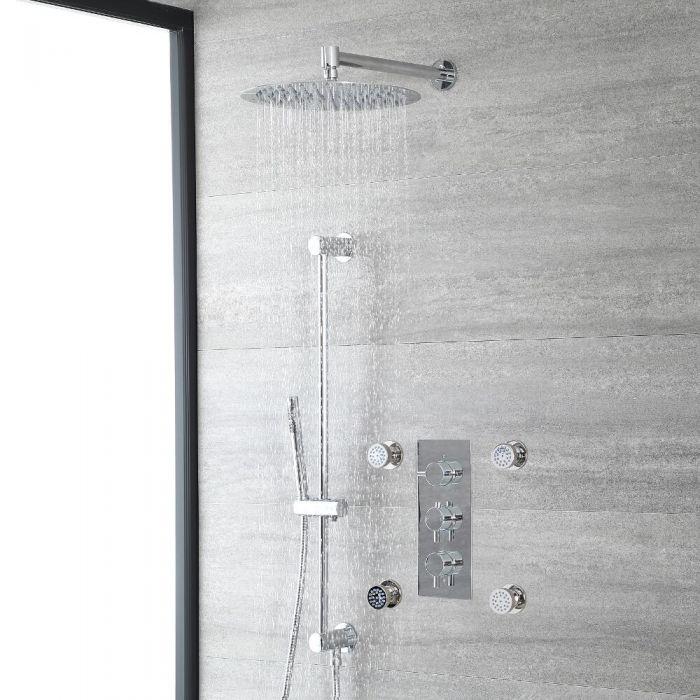 Rundes Dusch-Thermostat mit Umleiter, 300mm Duschkopf, Massagedüsen und Brausestangenset, Chrom - Como