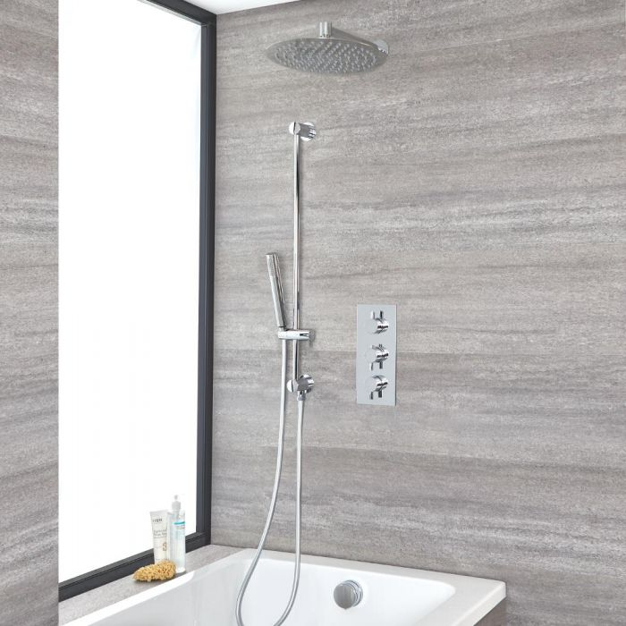 Duschsystem für Badewannen mit Thermostat, 300mm Duschkopf, Brausestangenset und Überlauf-Wanneneinlauf, Chrom - Como