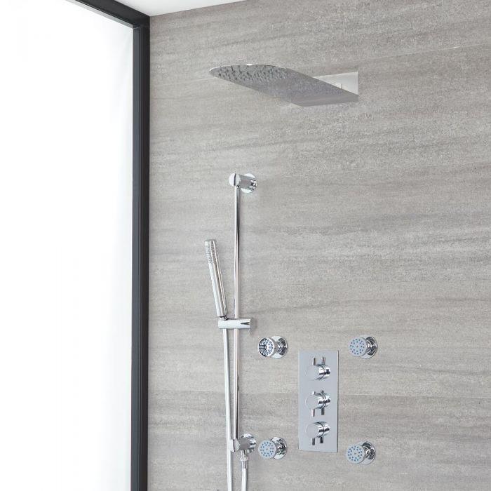 Rundes Dusch-Thermostat mit Umleiter, schlankem Duschkopf, Massagedüsen und Brausestangenset, Chrom - Como
