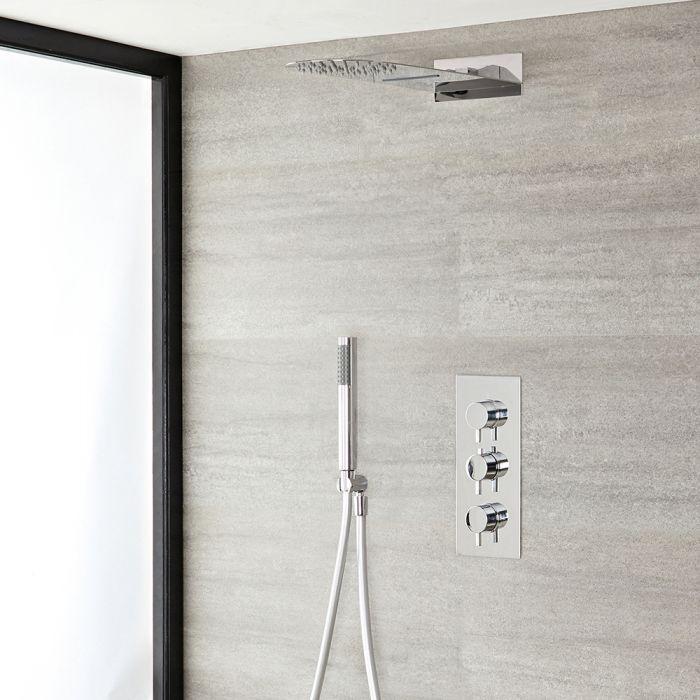 Rundes Dusch-Thermostat mit Umleiter, Wasserfall-Duschkopf und Handbrauseset, Chrom - Como