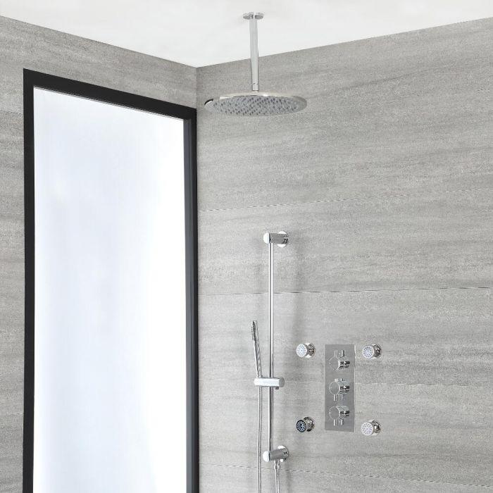 Rundes Dusch-Thermostat mit Umleiter, 300mm Decken-Duschkopf, Massagedüsen und Brausestangenset, Chrom - Como