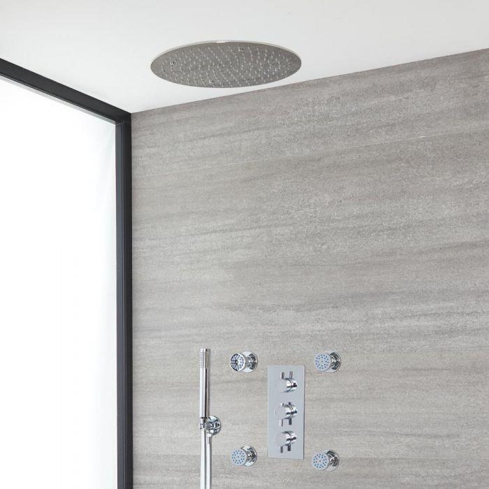 Rundes Dusch-Thermostat mit Umleiter, 400mm Decken-Duschkopf, Massagedüsen und Handbrause, Chrom - Como