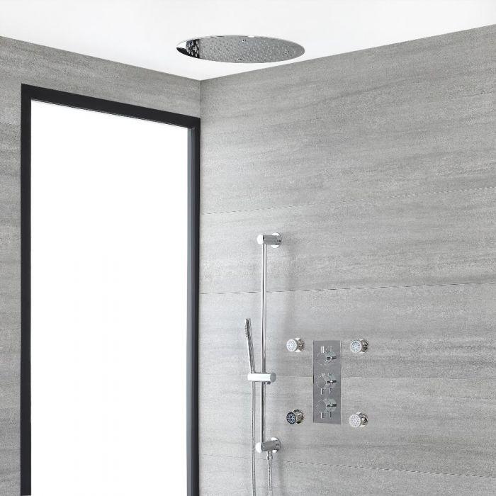 Rundes Dusch-Thermostat mit Umleiter, 400mm Decken-Duschkopf, Massagedüsen und Brausestangenset, Chrom - Como