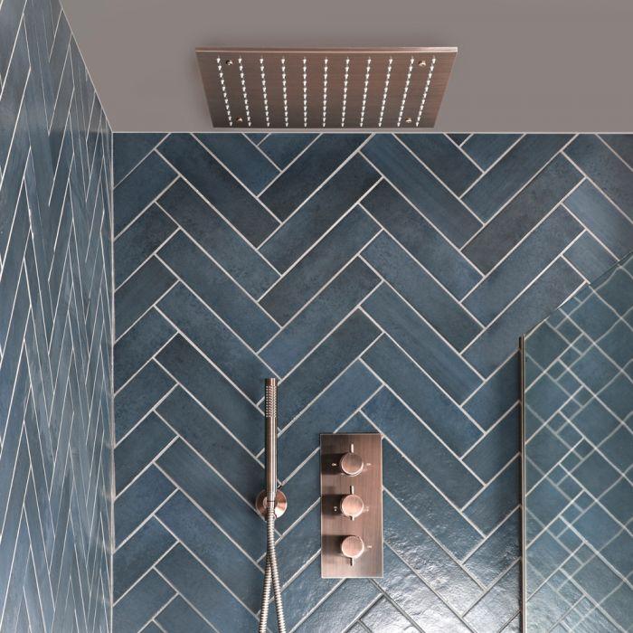 Unterputz-Duschsystem mit Thermostat - mit 400mm x 400mm Unterputz-Duschkopf und Handbrauseset - Gebürstetes Kupfer - Amara